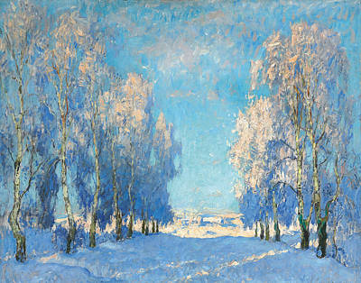 Seasons Greeting Painting - A Winter's Day by Konstantin Ivanovich Gorbatov