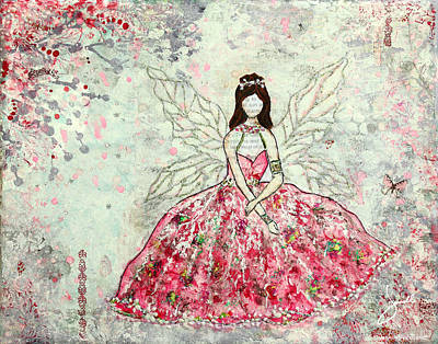 Folkart Mixed Media - A Winter's Fairytale by Janelle Nichol