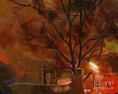 Brick Buildings Digital Art - A Winters Night by Arne Hansen