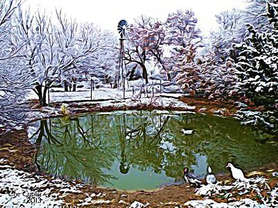Gypsy Digital Art - A Winters Pond by The GYPSY And DEBBIE