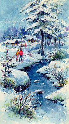 Winter Scenes Painting - A Winters Scene by Stanley Cooke