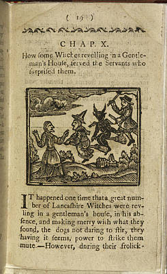 Woodcuts Photograph - A Witch And Demon Flying On Broomsticks by British Library