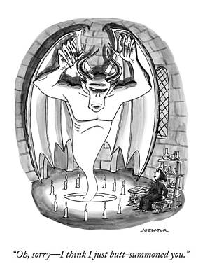 Drawing - A Witch Speaks To A Demon Sprung From A Seance by Joe Dator