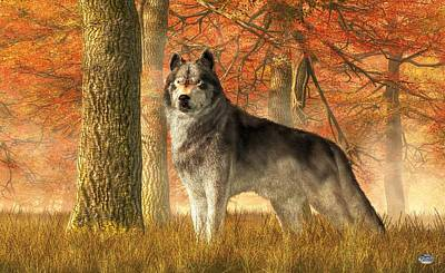 Digital Art - A Wolf In Autumn by Daniel Eskridge