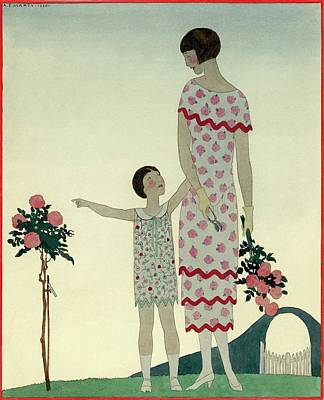 A Woman And A Little Girl Art Print
