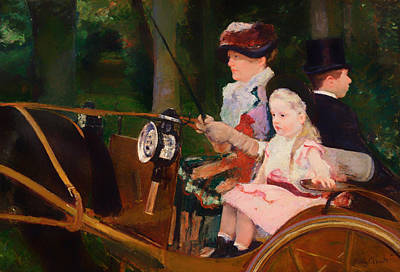 Carriage Driving Painting - A Woman And Girl Driving by Mountain Dreams