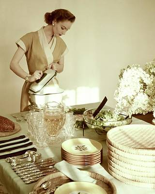 Tableware Photograph - A Woman At A Dining Table by Haanel Cassidy