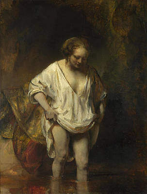 Painting - A Woman Bathing In A Stream. Hendrickje Stoffels by Rembrandt