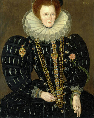 Chain-ring Painting - A Woman Called Lady Elizabeth Knightley Dated In Yellow by Litz Collection