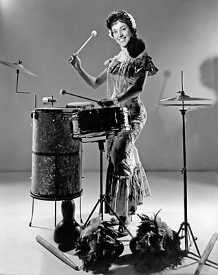 Calypso Photograph - A Woman Calypso Percussionist by Underwood Archives