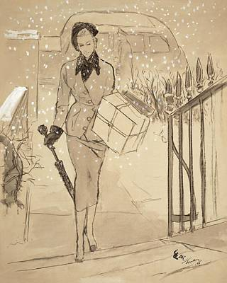 Umbrellas Digital Art - A Woman Carrying A Gift In The Snow Wearing by Carl Oscar August Erickson