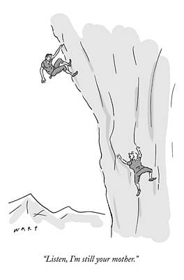 Mountain Drawing - A Woman Climbs After And Calls Out To A Young by Kim Warp