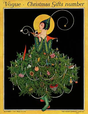 A Woman Dressed As A Christmas Tree Art Print by Artist Unknown