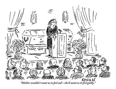 Funeral Drawing - A Woman Dressed In Black Speaks At Her Mother's by David Sipress
