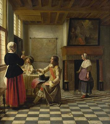 Flemish Painting - A Woman Drinking With Two Men by Pieter de Hooch