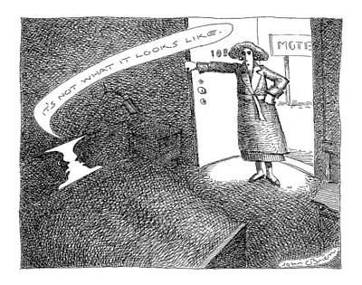 Optical Illusion Drawing - A Woman Enters A Motel Room And Confronts by John O'Brien