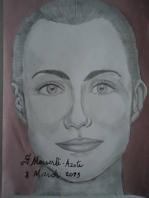 Femal Portrait Painting - A Woman by Fladelita Messerli-