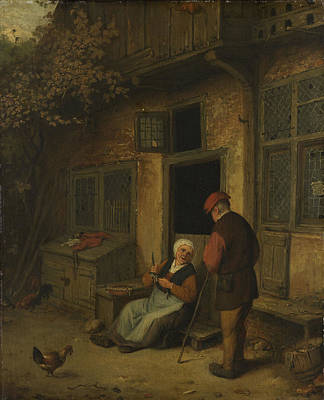 Herring Drawing - A Woman Gutting Herring In Front Of Her House by Litz Collection