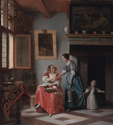 Employer Painting - A Woman Handing A Coin To A Serving Woman With A Child by Pieter de Hooch