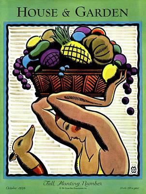 A Woman Holding A Basket Of Fruit Art Print by Marion Wildman