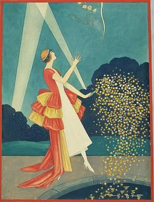 A Woman Holding A Firework Art Print