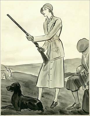 Dogs Digital Art - A Woman Hunting by Ren? Bou?t-Willaumez