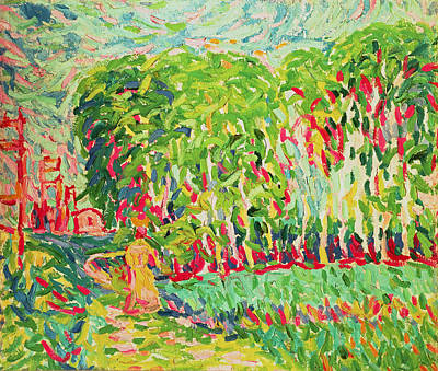 A Woman In A Birch Wood Art Print by Ernst Ludwig Kirchner
