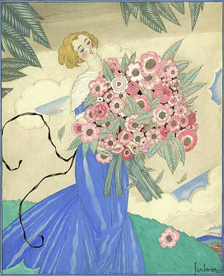 A Woman In A Blue Dress Holding A Bouquet Art Print by Georges Lepape