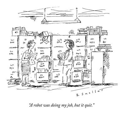Job Drawing - A Woman In A Room Full Of File Cabinets Speaks by Barbara Smaller
