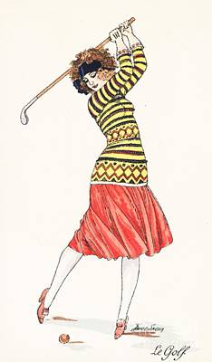 Fun Pastimes Painting - A Woman In Full Swing Playing Golf by French School