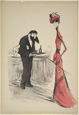 A Woman In Red And A Waiter Art Print by Georges Goursat [Sem]