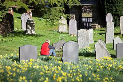 Grave Photograph - A Woman In Troutbeck Church Graveyard by Ashley Cooper