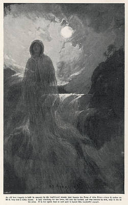 Aira Force Wall Art - Drawing - A Woman In White Haunts Aira  Force by Mary Evans Picture Library