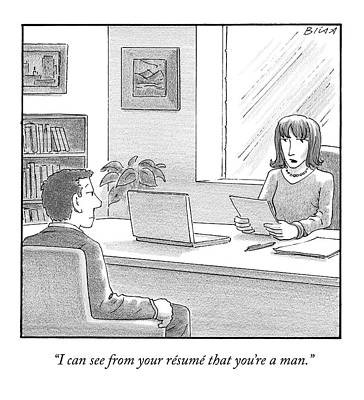 A Woman Interviewing A Man Reads His Resume Art Print