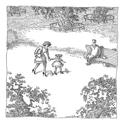 Park Scene Drawing - A Woman Is Seen Guiding Her Daughter by John O'Brien