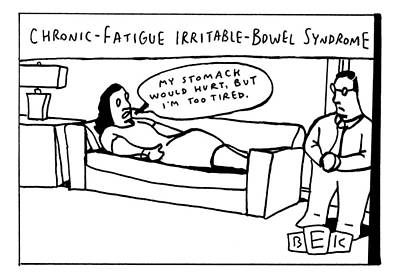 Fatigue Drawing - A Woman Lies On Her Couch And Speaks To A Man by Bruce Eric Kaplan