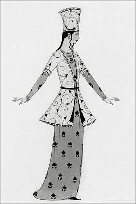 A Woman Modeling An Elaborate Costume Art Print