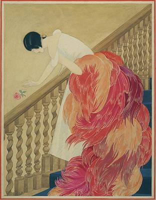 Old-fashioned Digital Art - A Woman On A Staircase by George Wolfe Plank