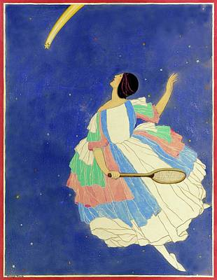 A Woman Playing Tennis In A Starscape Art Print by George Wolfe Plank
