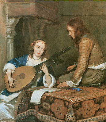 Woman Playing A Lute Painting - A Woman Playing The Theorbo-lute And A Cavalier by Gerard Terborch