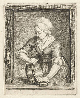 Boiler Painting - A Woman Polishing A Kettle, Louis Bernard Coclers by Louis Bernard Coclers