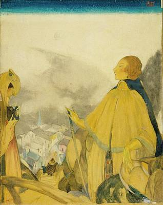 A Woman Posing Overlooking A Village Print by Henry R. Sutter