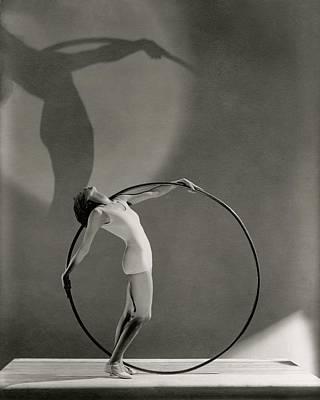 Photograph - A Woman Posing With A Hula Hoop by George Hoyningen-Huene
