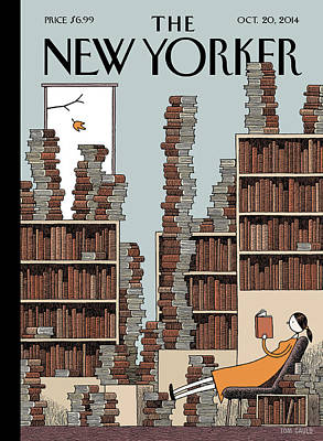 A Woman Reclines In A Room Full Of Books Art Print by Tom Gauld