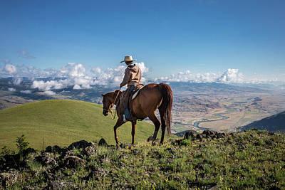 Horseback Photograph - A Woman Rides The Range by Cory Richards