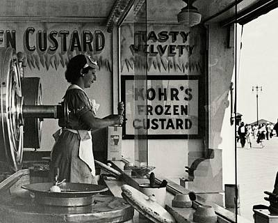 Coney Island Photograph - A Woman Selling Custard by Lusha Nelson