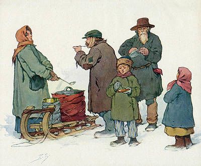 Girl With Coat Drawing - A Woman Selling Hot Soup On A Snowy by Mary Evans Picture Library