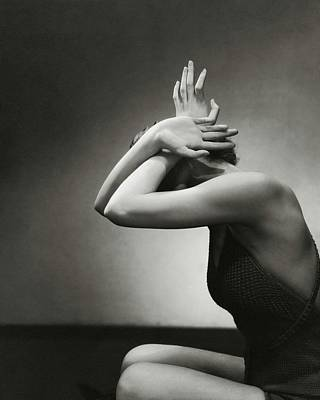 Beauty Photograph - A Woman Shielding Her Head by Edward Steichen