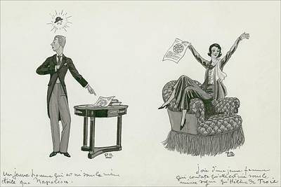 A Woman Sitting On An Armchair And A Man Pointing Art Print