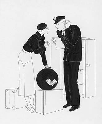 A Woman Speaking To A Customs Officer Art Print
